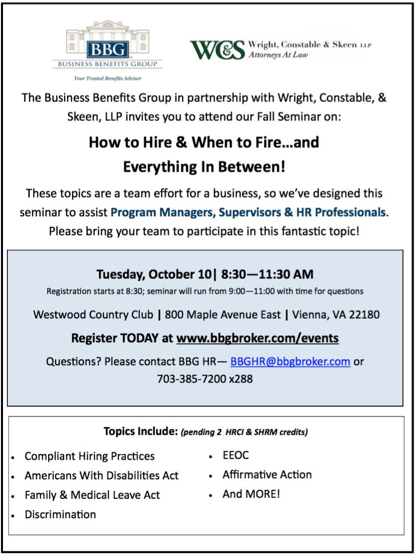 BBG 2017 Fall Seminar Business Benefits Group