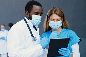a doctor seeing a patient who has a POS health insurance plan through her employer