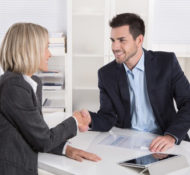 business woman shakes hands with her EPO insurance broker