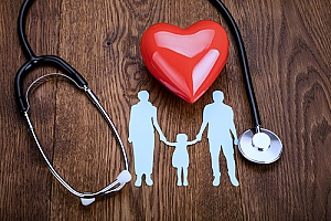 a heart next to a stethoscope as well as silhouettes of a family that represents how EPO insurance can benefit employees and their families