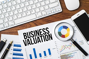 a business valuation with detailed graphs and spreadsheets