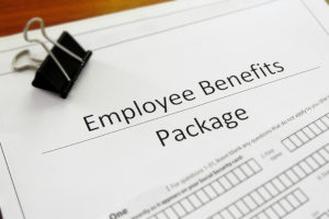 a closeup of a blank employee benefits package