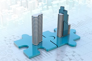 a mergers and acquisitions concept showing two buildings being connected through puzzle pieces