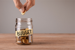Budget jar with change
