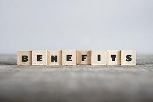 Benefits spelled in blocks