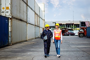 Overseas workers walking through site