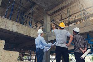 Heavy construction crew on site