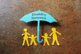 A Paper cut out of a family under a paper Disability Insurance umbrella