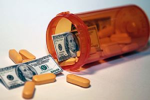 Money and pills pour out of a pill bottle representing affordable EPO Insurance Plan premiums