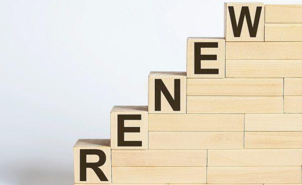 Wooden blocks arranged in ascending steps. Benefits renewal process includes several steps