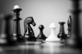 White pawn surrounded by opponents