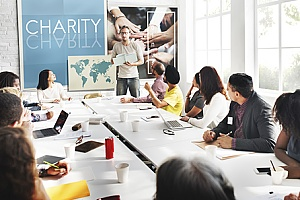 a nonprofit organization discussing an employee benefits package