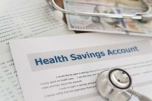 Health savings account HSA concept with application form