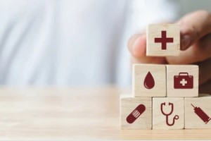 Health Related Symbols on Wooden Cubes