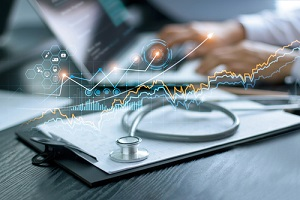 healthcare business graph data and growth with stethoscope
