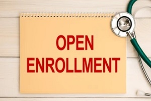 open enrollment on calender with sthethoscope